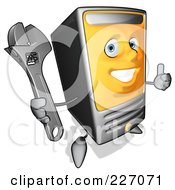 Royalty Free RF Clipart Illustration Of A Cartoon Computer Tower Character Holding A Wrench 1