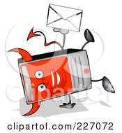 Royalty Free RF Clipart Illustration Of A Devil Cartoon Computer Tower Holding An Envelope 3