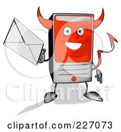 Royalty Free RF Clipart Illustration Of A Devil Cartoon Computer Tower Holding An Envelope 2