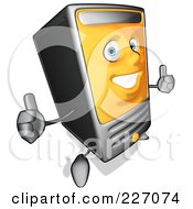 Royalty Free RF Clipart Illustration Of A Cartoon Computer Tower Holding Two Thumbs Up
