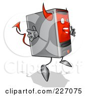 Royalty Free RF Clipart Illustration Of A Devil Cartoon Computer Tower Jumping by Julos