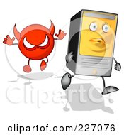 Royalty Free RF Clipart Illustration Of A Cartoon Computer Tower Running From A Devil 1