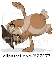 Royalty Free RF Clipart Illustration Of A Cartoon Owl Professor Doing A Hand Stand by Julos