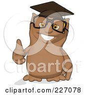 Royalty Free RF Clipart Illustration Of A Cartoon Owl Professor Holding A Thumb Up by Julos