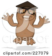 Royalty Free RF Clipart Illustration Of A Cartoon Owl Professor Jumping by Julos