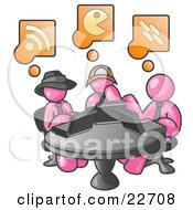Clipart Illustration Of Three Pink Men Using Laptops In An Internet Cafe