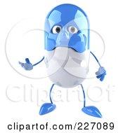3d Sad Blue Pill Gesturing