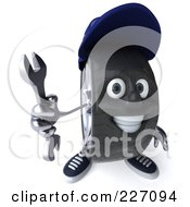 Royalty Free RF Clipart Illustration Of A 3d Tire Mechanic Character Holding A Wrench 2