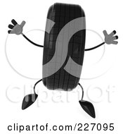 Royalty Free RF Clipart Illustration Of A 3d Tire Character Jumping
