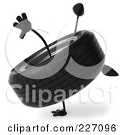 Royalty Free RF Clipart Illustration Of A 3d Tire Character Doing A Hand Stand 2