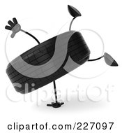 Royalty Free RF Clipart Illustration Of A 3d Tire Character Doing A Hand Stand 1