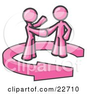 Clipart Illustration Of A Pink Salesman Shaking Hands With A Client While Making A Deal