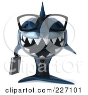 Royalty Free RF Clipart Illustration Of A 3d Blue Shark Business Man Wearing Glasses And Facing Front by Julos