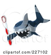 Royalty Free RF Clipart Illustration Of A 3d Shark Holding A Toothbrush