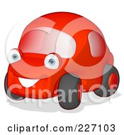 Royalty Free RF Clipart Illustration Of A Cute Red Cartoon Car by Julos