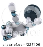Royalty Free RF Clipart Illustration Of A 3d Open Techno Robot Hand Pointing Up