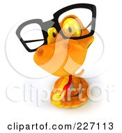Royalty Free RF Clipart Illustration Of A 3d Orange Snake Wearing Glasses 3 by Julos