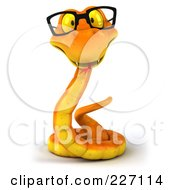 Royalty Free RF Clipart Illustration Of A 3d Orange Snake Wearing Glasses 1