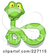Royalty Free RF Clipart Illustration Of A Green Cartoon Snake Coiled Over A Blank Sign