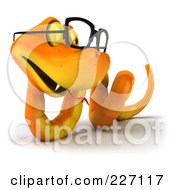 Royalty Free RF Clipart Illustration Of A 3d Orange Snake Wearing Glasses 4 by Julos