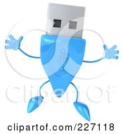 Royalty Free RF Clipart Illustration Of A 3d Blue USB Character Jumping