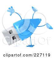 Royalty Free RF Clipart Illustration Of A 3d Blue USB Character Doing A Hand Stand