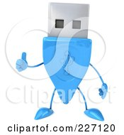 Royalty Free RF Clipart Illustration Of A 3d Blue USB Character Holding A Thumb Up