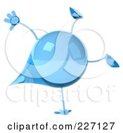 Royalty Free RF Clipart Illustration Of A 3d Water Droplet Doing A Hand Stand
