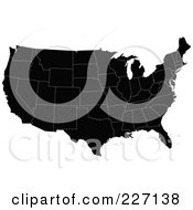 Royalty Free RF Clipart Illustration Of A Black Map Of The Contiguous United States With White Borders by JR