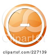 Royalty Free RF Clipart Illustration Of A Round Orange And White Shiny Minus Button Icon by oboy