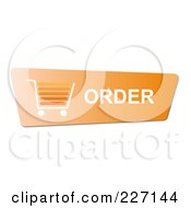 Royalty Free RF Clipart Illustration Of An Orange Order Button With A Shopping Cart