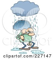 Royalty Free RF Clipart Illustration Of A Grumpy Toon Guy Getting Rained On And Walking Under An Umbrella by gnurf #COLLC227147-0050