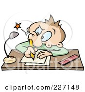 Royalty Free RF Clipart Illustration Of A Toon Guy Poking His Nostril With A Pencil While Writing At A Desk by gnurf