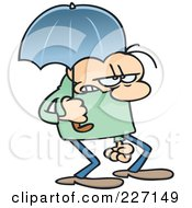 Grumpy Toon Guy Walking With An Umbrella