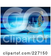 Royalty Free RF Clipart Illustration Of A 3d Skeleton Running Over A Blue Heart Rate Graph by KJ Pargeter