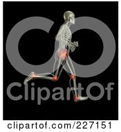 Royalty Free RF Clipart Illustration Of A 3d Skeleton Running With Hip Knee And Ankle Joints Highlighted by KJ Pargeter
