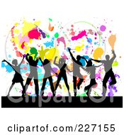 Royalty Free RF Clipart Illustration Of Silhouetted People Dancing Over A Colorful Splatter On White Background