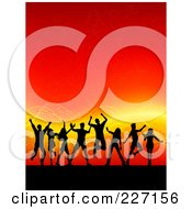 Royalty Free RF Clipart Illustration Of A Background Of Silhouetted Dancers Over A Red Background With Orange Waves