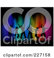 Royalty Free RF Clipart Illustration Of A Background Of Silhouetted Dancers Over Colorful Lights On Black