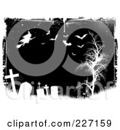 Grungy Black And White Halloween Background Of Tombstones A Witch Bats And Bare Tree