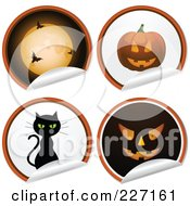 Royalty Free RF Clipart Illustration Of A Digital Collage Of Four Peeling Halloween Stickers