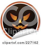 Royalty Free RF Clipart Illustration Of A Peeling Halloween Sticker Of A Jackolantern