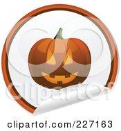 Royalty Free RF Clipart Illustration Of A Peeling Halloween Sticker Of A Halloween Pumpkin