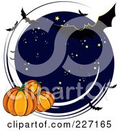 Royalty Free RF Clipart Illustration Of A Circle Of Stars In A Night Sky With Flying Bats And Halloween Pumpkins