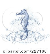 Antique Blue Seahorse Over Halftone Dots With Floral Vines Stars Bubbles