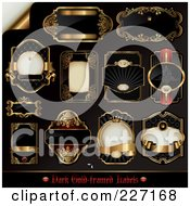 Royalty Free RF Clipart Illustration Of A Digital Collage Of Black And Golden Label Designs by Anja Kaiser