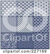 Royalty Free RF Clipart Illustration Of A Digital Collage Of Blue And White Repeat Asian Style Background Patterns