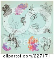Royalty Free RF Clipart Illustration Of A Digital Collage Of Ornate Swirl Designs On Aged Turquoise