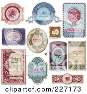 Digital Collage Of Vintage Label Designs With Sample Text 1