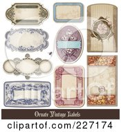 Royalty Free RF Clipart Illustration Of A Digital Collage Of Vintage Label Designs With Sample Text 2